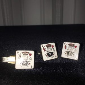 Vintage King of Hearts Tie Pin and Cuff Links Set